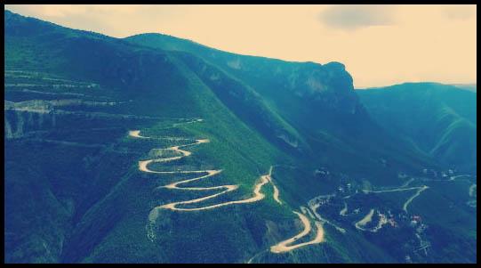 ruta para ir hacia a las grutas de tolantongo